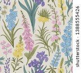 lovely garden. vintage seamless ... | Shutterstock .eps vector #1388555426