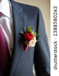 boutonniere with a rose on the... | Shutterstock . vector #1388580263