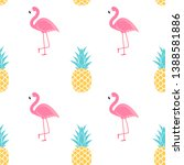 tropic fruit pineapple and pink ... | Shutterstock .eps vector #1388581886