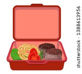 red lunchbox icon. cartoon of... | Shutterstock .eps vector #1388613956