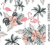 pink flamingo  palm trees ... | Shutterstock .eps vector #1388614436
