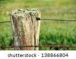 Wooden Fence Post With Lichen ...
