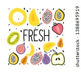 fruit flat hand drawn... | Shutterstock .eps vector #1388695919