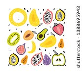 fruit flat hand drawn... | Shutterstock .eps vector #1388695943