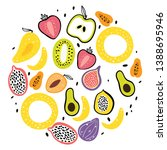 fruit flat hand drawn... | Shutterstock .eps vector #1388695946
