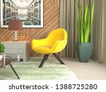 interior with chair. 3d... | Shutterstock . vector #1388725280