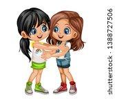 two lovely happy best friends... | Shutterstock .eps vector #1388727506