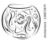 sketch aquarium with fish  ... | Shutterstock .eps vector #138872879