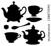 Set icon teapots, teacups, teaspoon, saucer and sugar. Abstract design logo. Logotype art - vector