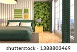 bedroom interior. 3d... | Shutterstock . vector #1388803469
