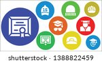 academic icon set. 9 filled... | Shutterstock .eps vector #1388822459