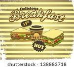 vintage breakfast food menu   Shutterstock .eps vector #138883718