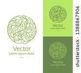 green linear leaf emblem.... | Shutterstock .eps vector #1388867906
