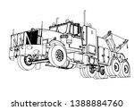 sketch road truck vector on a... | Shutterstock .eps vector #1388884760