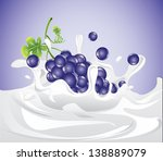 grapes splashing in milk  eps 10 | Shutterstock .eps vector #138889079