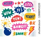 vector set of comic speech... | Shutterstock .eps vector #1388893220