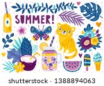 set of cute summer icons  food  ... | Shutterstock .eps vector #1388894063