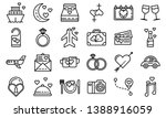 honeymoon icons set. outline... | Shutterstock .eps vector #1388916059
