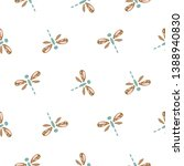cute dragonfly seamless vector... | Shutterstock .eps vector #1388940830