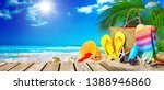 tropical beach with sunbathing... | Shutterstock . vector #1388946860
