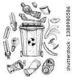 trash set with dumpster. sketch.... | Shutterstock .eps vector #1388980586