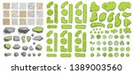set of park elements.  top view ... | Shutterstock .eps vector #1389003560