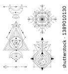sacred geometry vector... | Shutterstock .eps vector #1389010130
