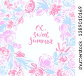 hand drawn floral frame with... | Shutterstock .eps vector #1389010169