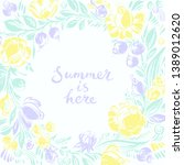 hand drawn floral frame with... | Shutterstock .eps vector #1389012620
