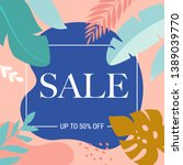summer sale poster with tropic... | Shutterstock .eps vector #1389039770