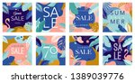 summer sale posters with tropic ... | Shutterstock .eps vector #1389039776