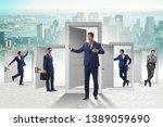 businessman in uncertainty... | Shutterstock . vector #1389059690