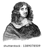Jean-Baptiste Colbert, 1619-1683, he was a French politician who served as the minister of finances of France from 1665 to 1683, vintage line drawing or engraving illustration
