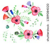 hand drawn watercolor flowers.... | Shutterstock . vector #1389084020