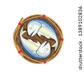steamed mackerel in bamboo... | Shutterstock .eps vector #1389102836