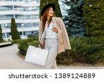 stylish happy  business woman... | Shutterstock . vector #1389124889
