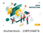 isometric banner with notebook... | Shutterstock .eps vector #1389146876