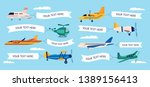 Set Of Cartoon Airplanes With...