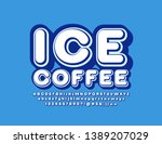 vector retro logo ice coffee... | Shutterstock .eps vector #1389207029