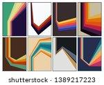 set of vintage colorful... | Shutterstock .eps vector #1389217223