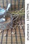 bran it in a silver bowl.... | Shutterstock . vector #1389217946