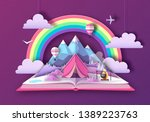 open fairy tale book with... | Shutterstock .eps vector #1389223763