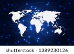 vector globe on the digital... | Shutterstock .eps vector #1389230126