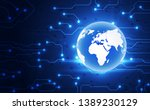 vector blue globe on the... | Shutterstock .eps vector #1389230129