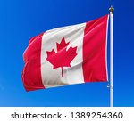 Flag Of Canada On The Blue Sky. ...