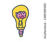 bulb with human brain in doodle ... | Shutterstock .eps vector #1389289283