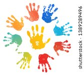 Hand rainbow print sun, isolated on white background. Color child handprint. Creative paint hands prints. Happy childhood design. Artistic kids stamp, bright human fingers, palm Vector illustration
