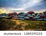 Pile Of Discarded Old Cars On...