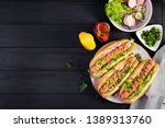 hot dog with  sausage  cucumber ... | Shutterstock . vector #1389313760