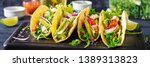 mexican tacos with chicken meat ... | Shutterstock . vector #1389313823